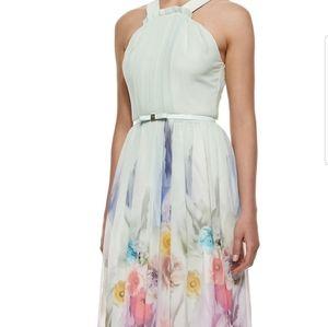 Ted Baker Floral Dress Blue Maxi Rainbow